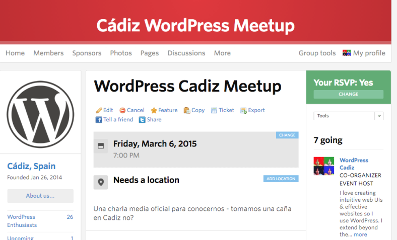 WordPress MeetUp Cadiz!